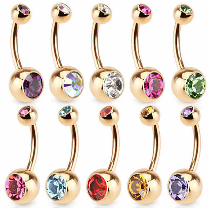 Mode Belly Button Ring Kraakbeen Sieraden Body Piercing Kristal 9 Kleuren Punk Rhinestone Navel Button Rings Bar Charm Vrouwen