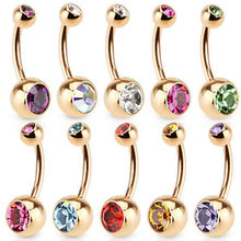 1PC Charm สีแหวน Rhinestones Cartilagem Navel Bar คริสตัล Body Piercing 9 สี Punk Hot ใหม่(China)