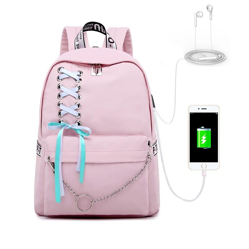 Image 4 - WINNER 2019 New Waterproof Women Backpack USB Charging Printing School Laptop Knapsack Female Travel Daily Mochila Bolsas Kawai-in Backpacks from Luggage & Bags