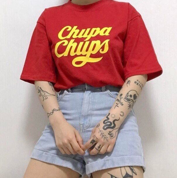 HAHAYULE Chupa Chups Women Girl Tumblr Fashion Cute Street Style Graphic Tee Hipsters Casual Loose Red T-Shirt