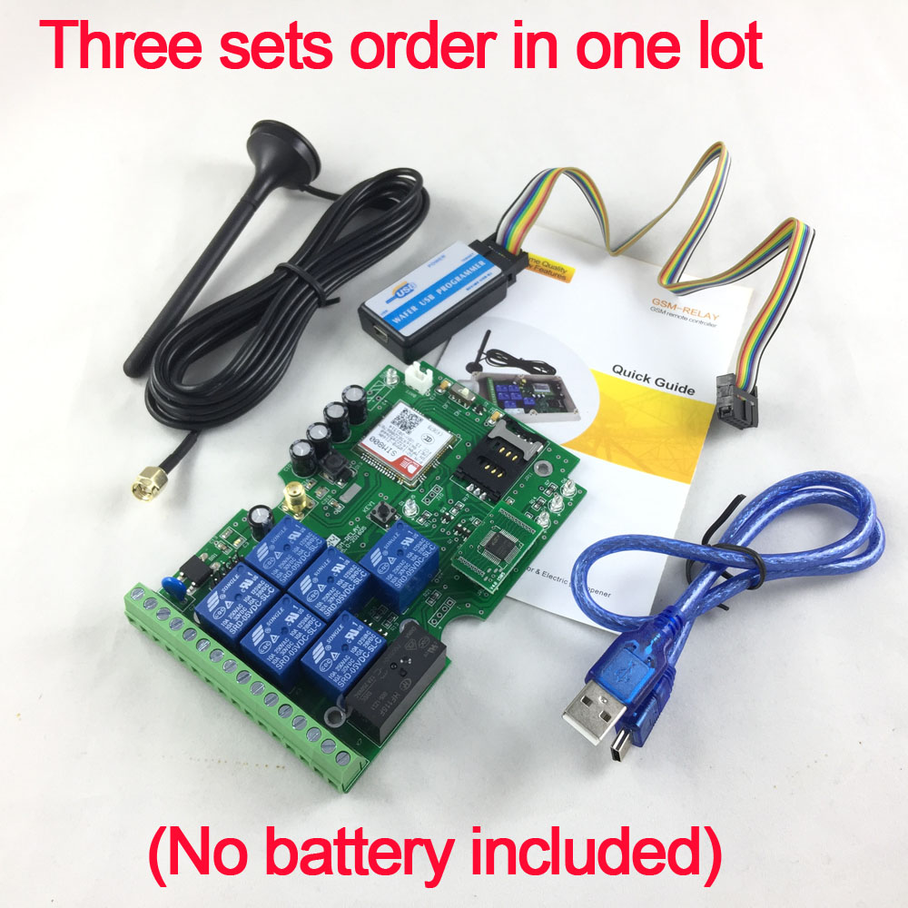 цены Friendly Three sets Quad Band Seven relay output GSM remote control board Support Dial SMS and DTMF to control