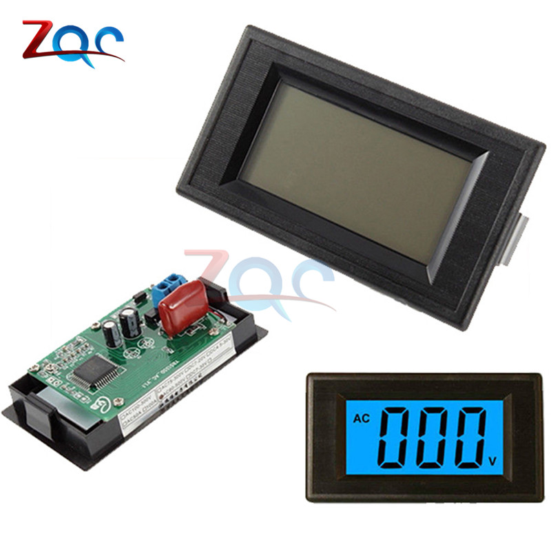 2-wire Blue Digital LCD AC 80-500V Volt Panel Voltage Meter Voltmeter Circuit Power Supply