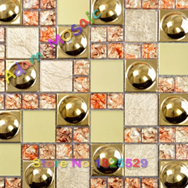 3D golden tile wall art design gold glass mosaic tiles frieplace ...