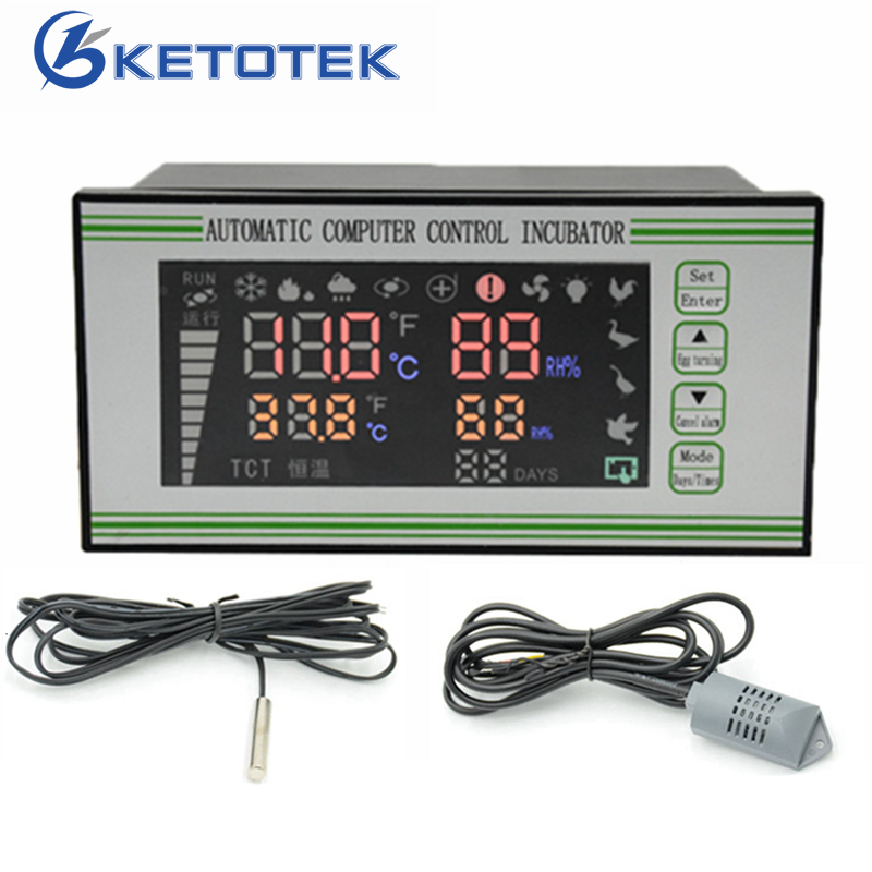 AC 220V Temperature Humidity Controller Automatic Incubator Air Thermostat Controller Hygrometer Control 0 ~ 40.5C ac 250v 20a normal close 60c temperature control switch bimetal thermostat