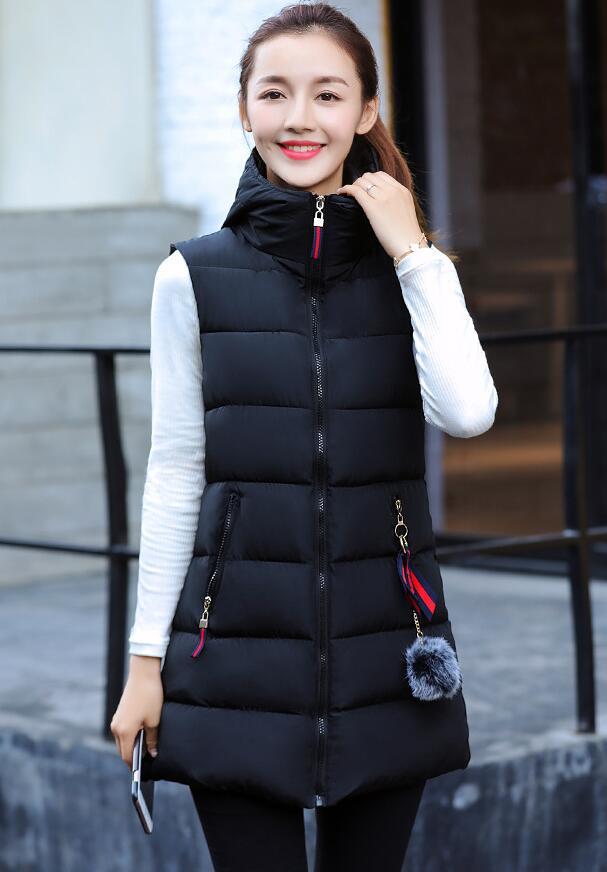 Hooded Thick Long Women Vest Waistcoat 2018 Autumn Winter Warm Female Outerwear Down Parkas Sleeveless Ladies