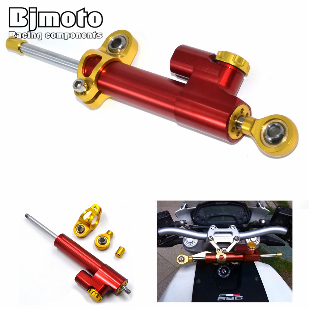 ФОТО SD-001-RD Red & Gold Universal High Quality CNC Alloy motorcycle Adjustable Steering Damper For Kawasaki f6