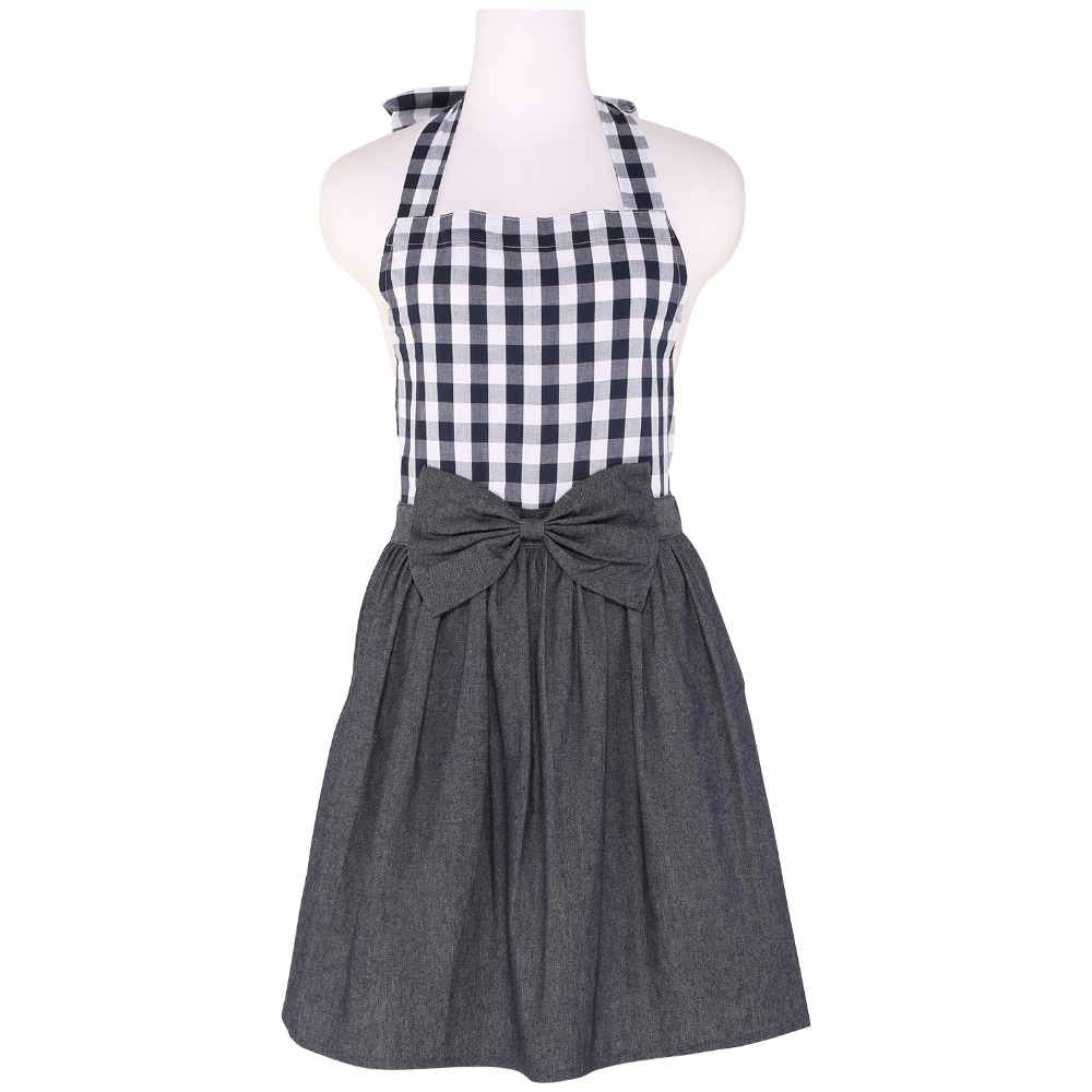 White apron to decorate - Neoviva Cotton Denim Apron With Bow Knot Decoration For Housewife Style Tiffany Woven Checked