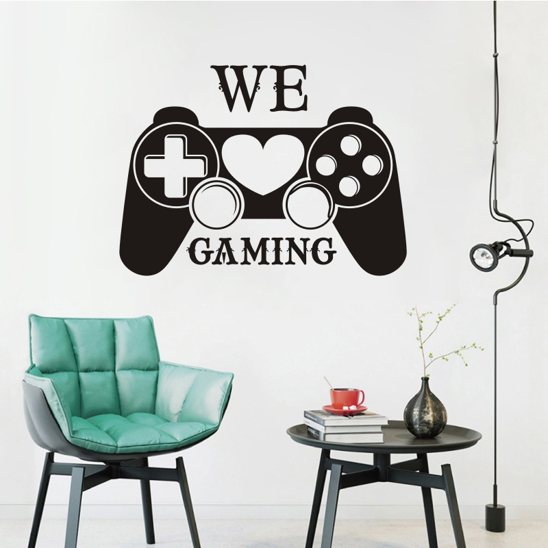 . Vinyl Gamer Controller Wall Decal We Love Gaming Quote Wall Sticker
