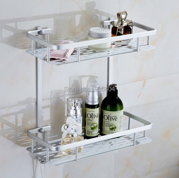 Space Aluminum Basket Shelf Wall Mounted Two Layer Corner Bathroom Rack BS3226