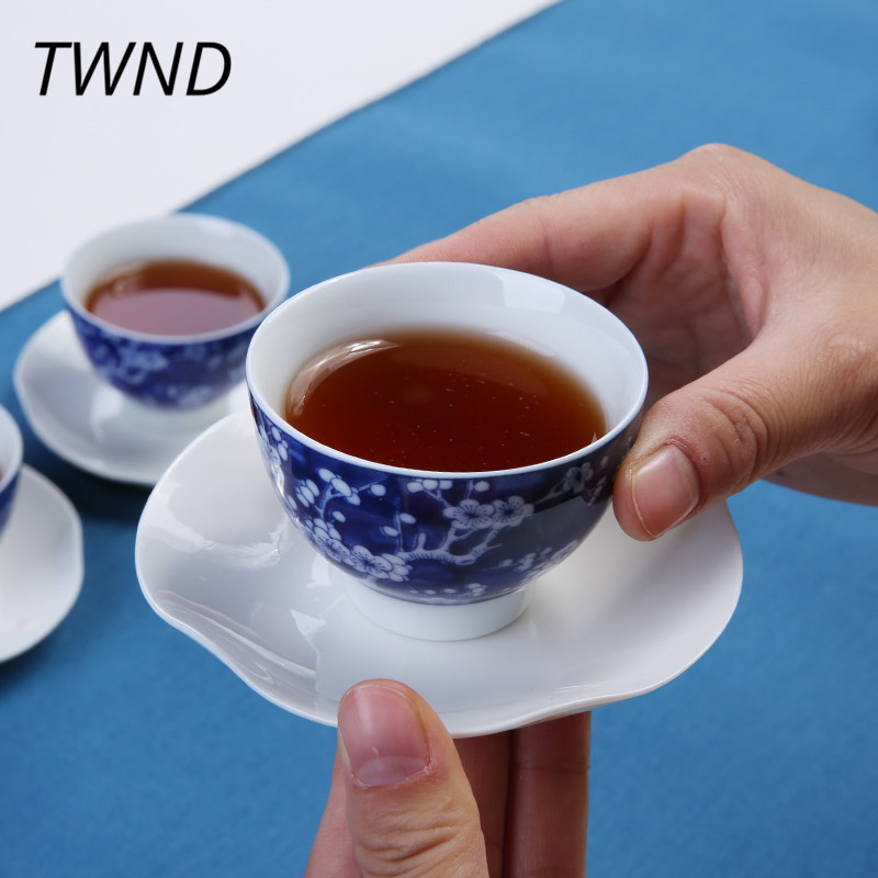 2 Pieces handpainted tea cups porcelain mugs creative kung fu drinkware