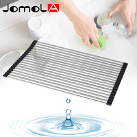 JOMOLA Foldable Dish Rack Over The Sink Multipurpose Roll Up Dish Drying Rack SUS304 Stainless Steel