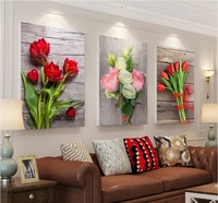 ارتفع الحديث الزنبق 3 أجزاء الصورة جدار الفن قماش اللوحة الزخرفية اللوحة وحدات ل غرفة المعيشة لا مؤطرة