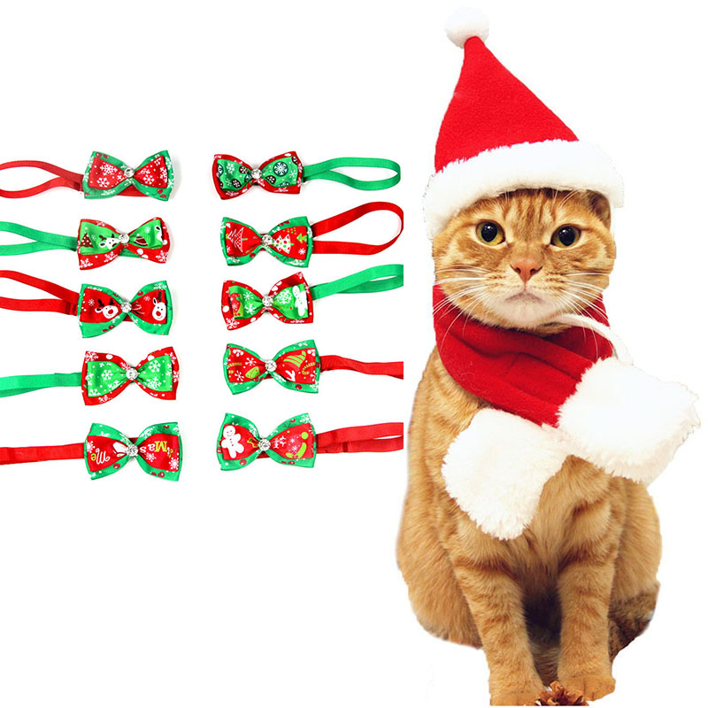 Hot Pet Accessories Puppy Dog Cat Christmas Bowtie Bow Tie Soft Warm Christmas Hat Xmas Santa Claus Warm Cap For Cats And Dogs