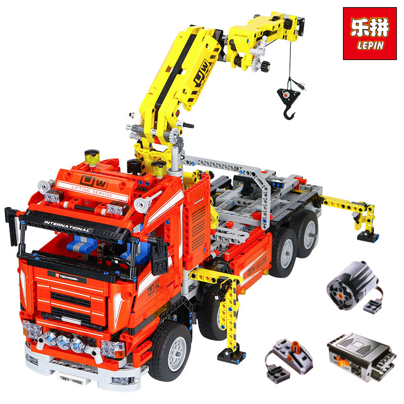 NEW LEPIN 20013 technic series 1877pcs The Electric Crane Truck Model Building blocks Bricks Compatible legoinglys 8258 birthday