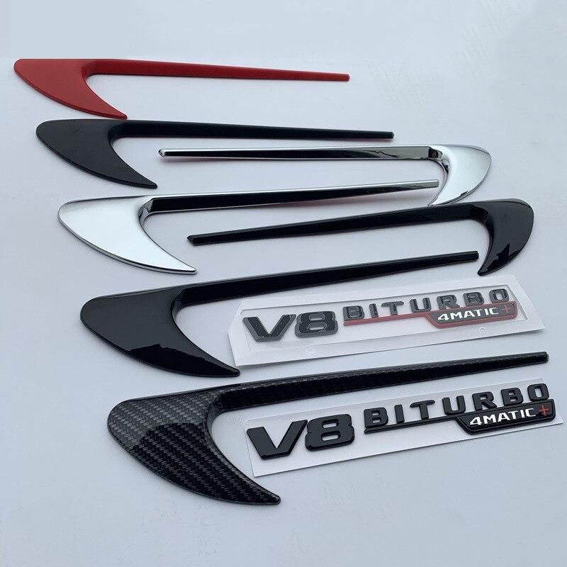 Décoration latérale d'autocollant de Logo de lame d'emblème de garniture d'aile d'évent pour Benz AMG V8 C200 C300 E300 E400 W213 noir brillant de Fiber de carbone