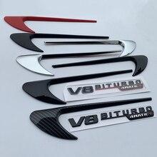 Vent Fender Trim Emblem Klinge Logo Aufkleber Seite Dekoration für Benz AMG V8 C200 C300 E300 E400 W213 Carbon Faser glanz Schwarz