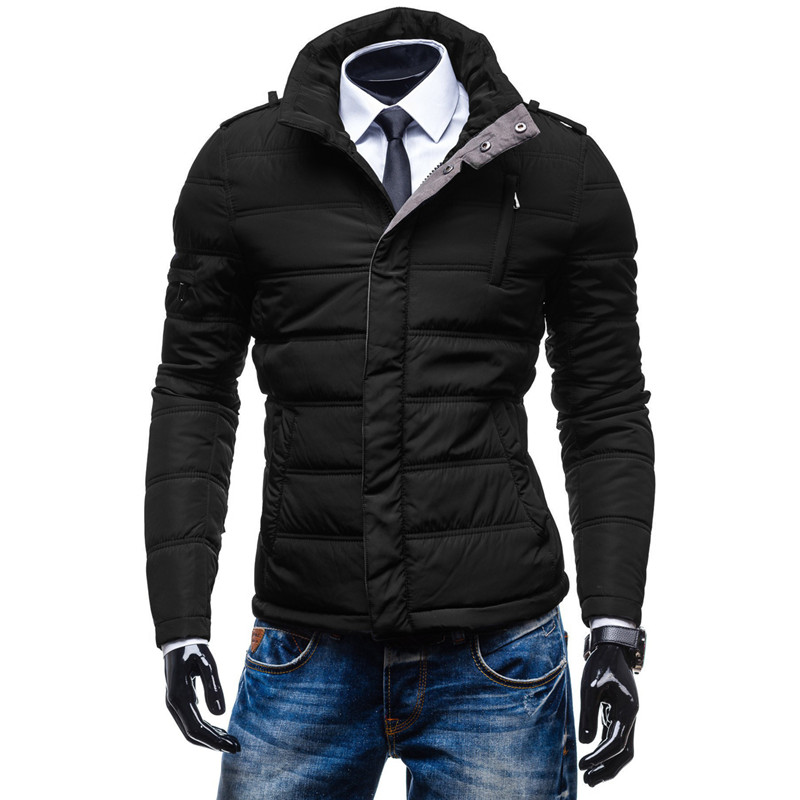 YFFUSHI 2017 New Fashion Winter Jacket Men Black Parka Jackets Men Stand Collar Winter Coat Slim Fit Plus Size 5XL simple v neck solid color long sleeves sweater for women