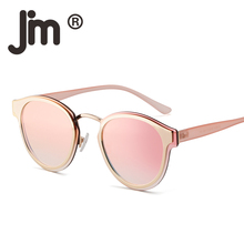 JM Round Mirrored Reflective Sunglasses Circle Flat Metal Gradient Sun Glasses Men Women Eyeglasses