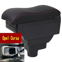 For Opel Corsa Armrest box central Store content armrest with cup holder ashtray USB interface