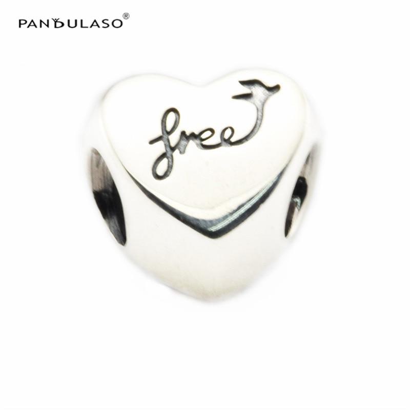 Серебро 925 Сердце свободы амулеты 2016 Осенняя коллекция подходит серебряный шарм браслеты и ожерелье для женщин DIY ювелирные изделия