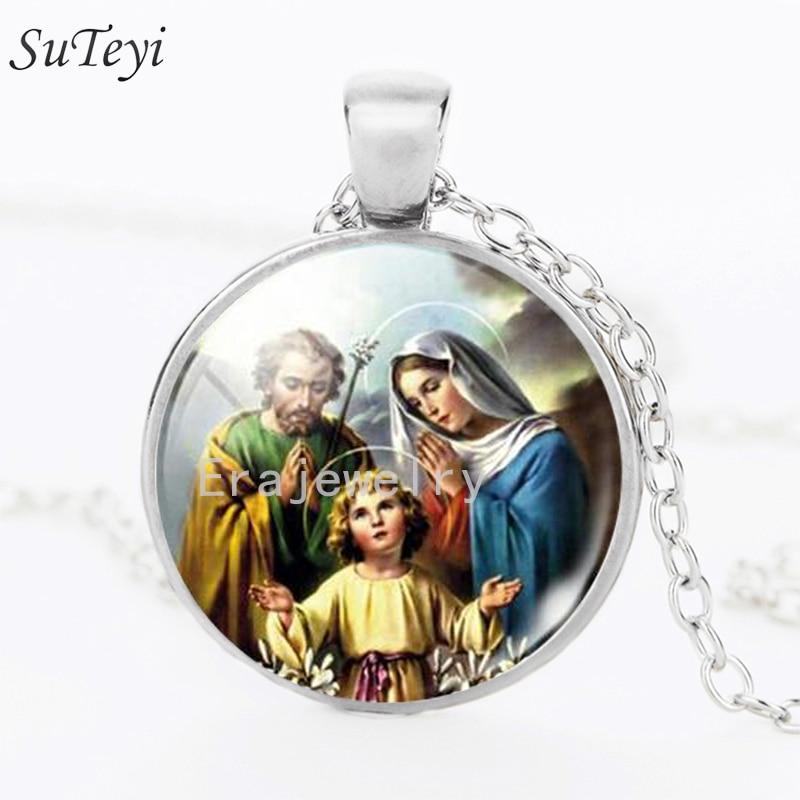 1d2d33473 SUTEYI الجملة مريم العذراء والدة الطفل نيكلس يسوع المسيح المسيحي مجوهرات  زجاج صور قلادة القلائد للنساء هدية