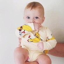 TinyPeople/Новинка года; детские пижамы с принтом банана; Хлопковая весенняя одежда с длинными рукавами для новорожденных; боди; bebe; платье; Одежда для маленьких мальчиков и девочек