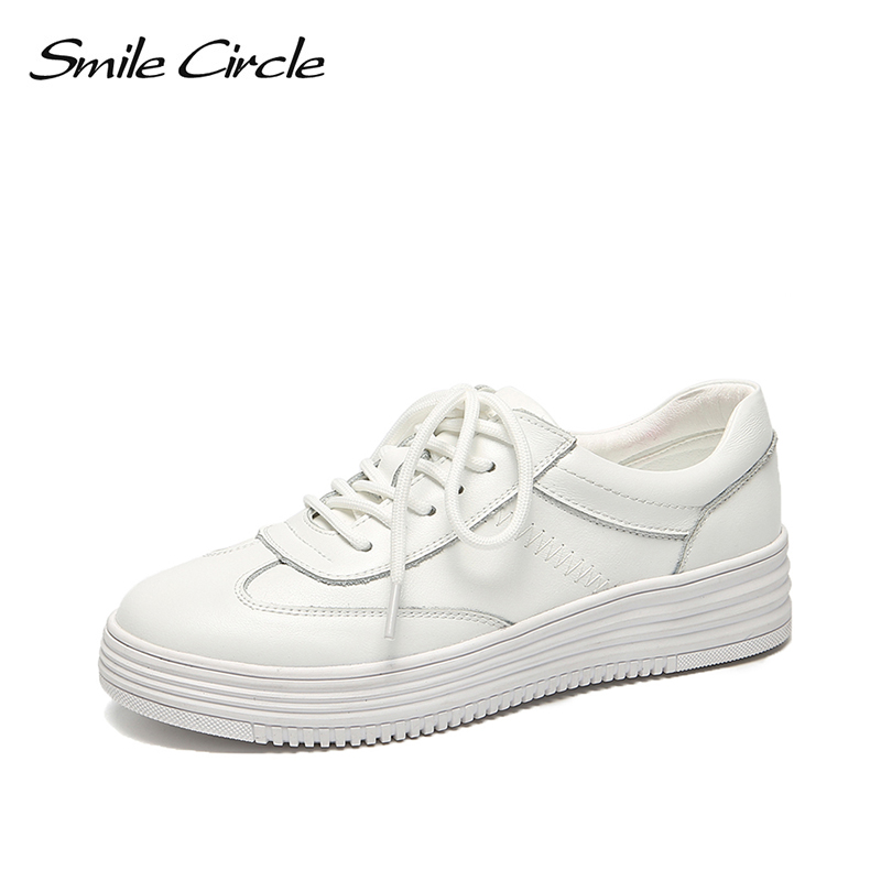 Smile Circle Genuine Leather White Sneakers Women Lace up Flat Casual shoes 2019 Spring fashion Thick bottom Increase Sneakers-in Women's Vulcanize Shoes from Shoes    1