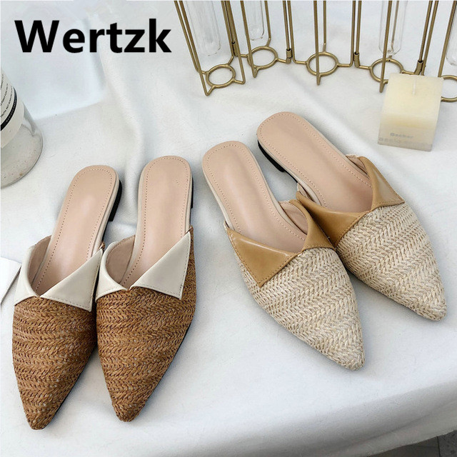 Wertzk 2019 Women Slippers Fashion Pointed Toe Weave Mules Shoes Flat Slides Summer Beach Flip Flop Outside Slip On Shoes E475