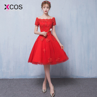 XCOS Red Homecoming Dress Cheap A Line Appliques Cocktail Party Dress Knee Length Cheap Short Lace Homecoming Dress