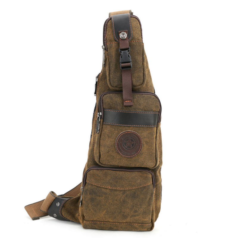 New Men Canvas Travel  Riding Shoulder Cross Body Messenger Sling Back Pack Chest Casual Bag