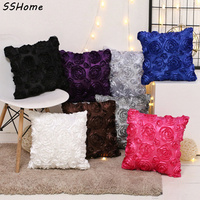 Stereo Rose Cushion Covers 40x40cm Square Office Nap Car Pillow Sofa Seat Cushion Cover Case Washable