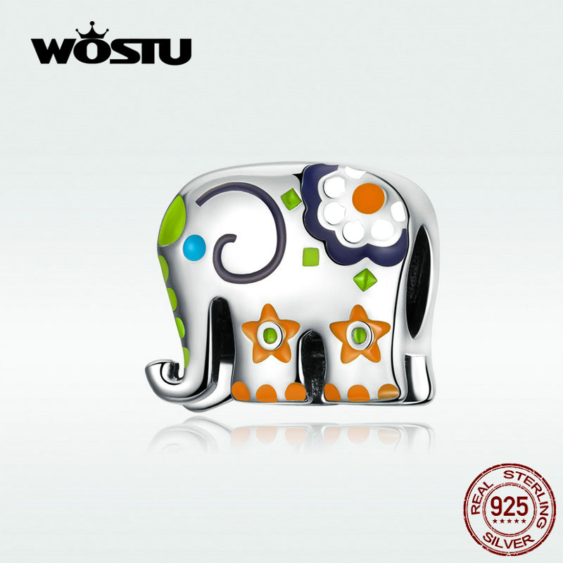 WOSTU Colorful Happy Elephant Beads Genuine 925 Sterling Silver Charms Fit Original Bracelet Pendant Jewelry Gift WOSTU Colorful Happy Elephant Beads Genuine 925 Sterling Silver Charms Fit Original Bracelet Pendant Jewelry Gift CTC095