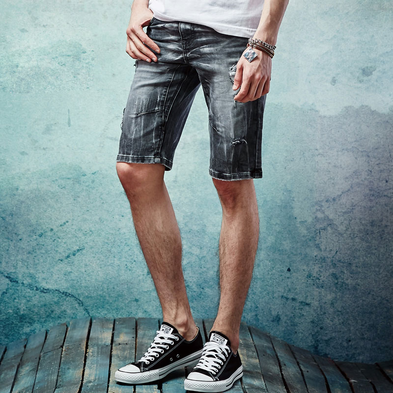 Summer New Arrival Fashion Elastic Short Jeans Men Brand Jeans Brand Slim fit Straight Ripped Beggar Hole Design Jeans 28-38 ...