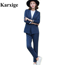 2017 Korean Thin Stripes All Match Temperament Slim OL Office Leisure Strip Female attractive temperament stripped suit lady