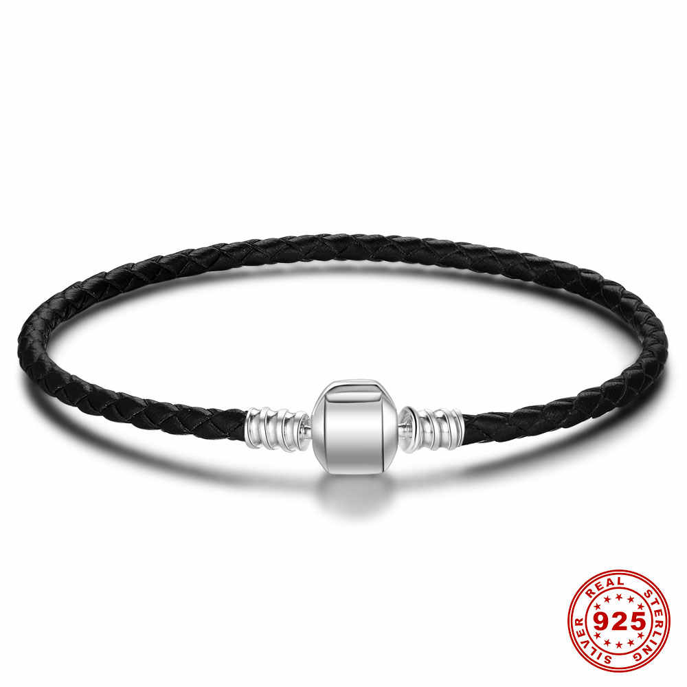 Real Black Leather Bracelet Authentic 925 Sterling Silver Charms Bracelet fit All European Beads diy Charm Bracelets VNISTAR