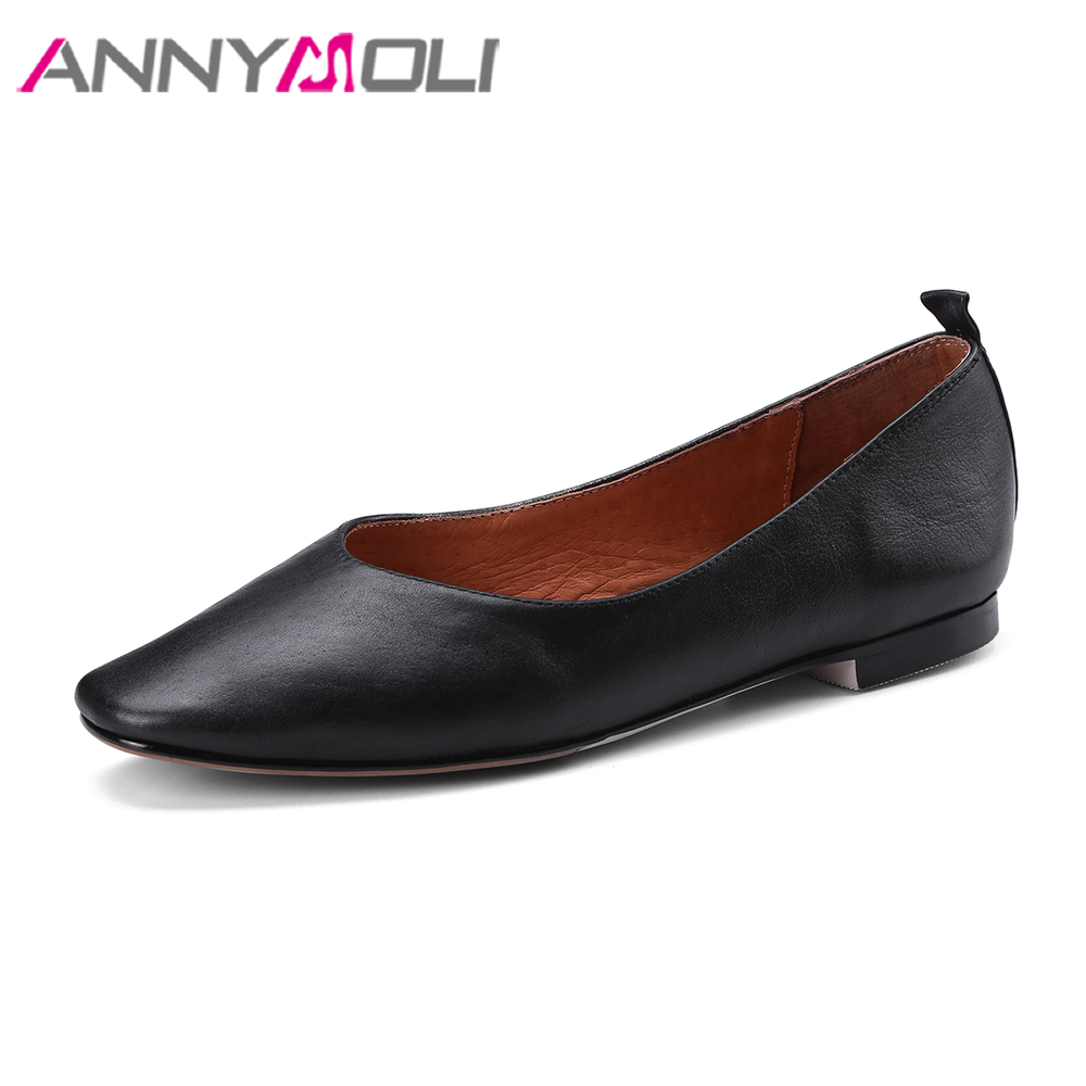 ANNYMOLI Women Flats Genuine Leather Shoes Boats Square Toe Flats Slip On Shoes Spring 2018 Black Boat Flats Shoes Size 34-39 hot sale 2017 korean new fashion spring women flats shoes ladies bow square toe slip on flat women s shoes plus size 35 42