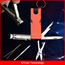 Multitool Keyring Accessories with LED Flashlight Scissors Nail Cleaner Ear picks Tweezers Nail Clippers for Travel and Camping
