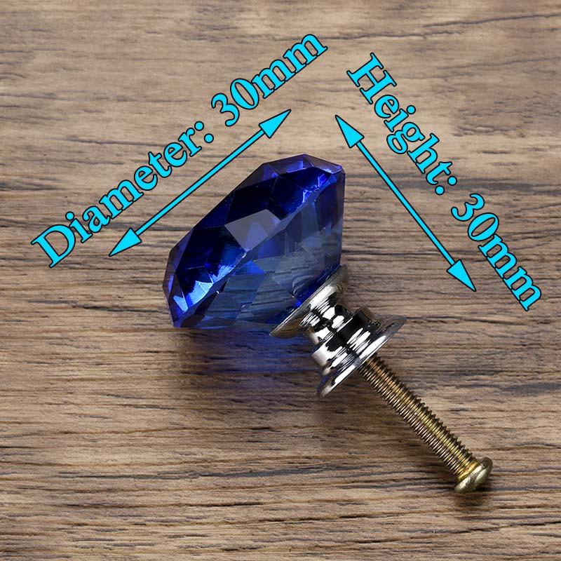 KAK 30 мм Алмазная форма дизайн хрустальные стеклянные ручки Шкаф Тянет ручки ящика кухонный шкаф ручки Мебельная ручка фурнитура - Цвет: Blue