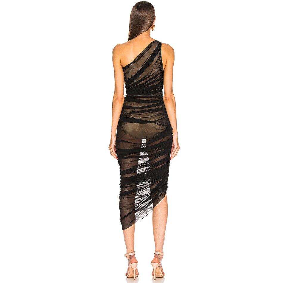 本日の割引 新しい夏の女性ワンショルダーセレブイブニングパーティードレスセクシーなノースリーブレースボディコンナイトクラブドレス Natural Vestidos