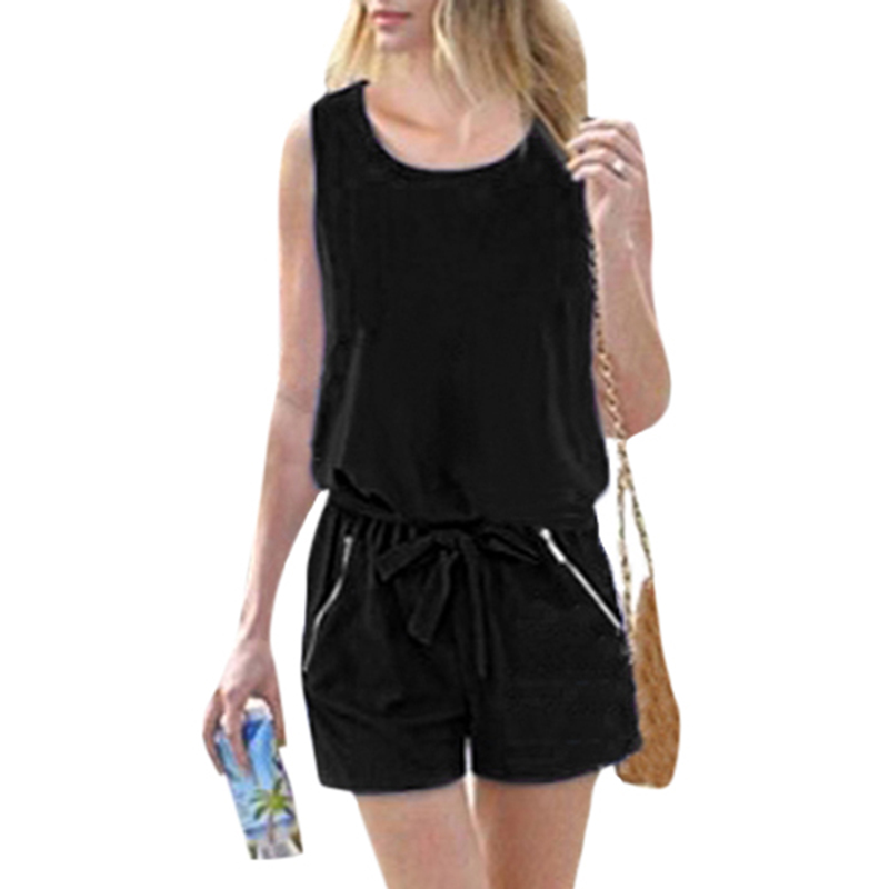 Fashion Casual Women Solid Romper Belt Elastic Waist Short Jumpsuit Sleeveless Round Neck Buttons Back Zipper Overalls Bodysuits