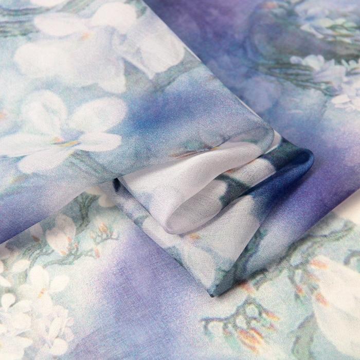 140cm bred 8mm hvit orkidé print blå tynn silk chiffong stoff til - Kunst, håndverk og sying - Bilde 5