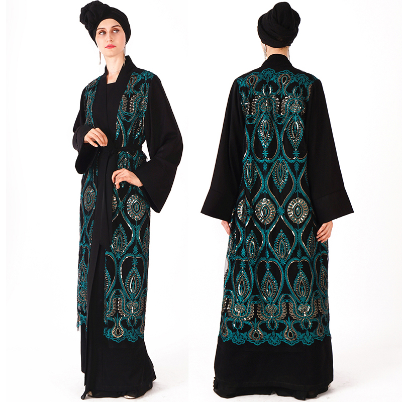 Kaftan Open Abaya Dubai Sequin Hijab Muslim Dress Turkey Robe Ramadan Abayas For Women Jilbab Caftan Turkish Islamic Clothing