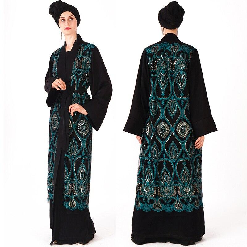Kaftan Open Abaya Dubai Sequin Hijab Muslim Dress Turkey Robe Ramadan Abayas For Women Jilbab Caftan Turkish Islamic Clothing-in Islamic Clothing from Novelty & Special Use    1