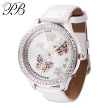 PB Marca Blanco Elegante Reloj de Vestir de Cuero Genuino de Las Señoras de Cristal Austriaco Mujeres De Lujo Del Cuarzo Relojes de Pulsera relogio feminino