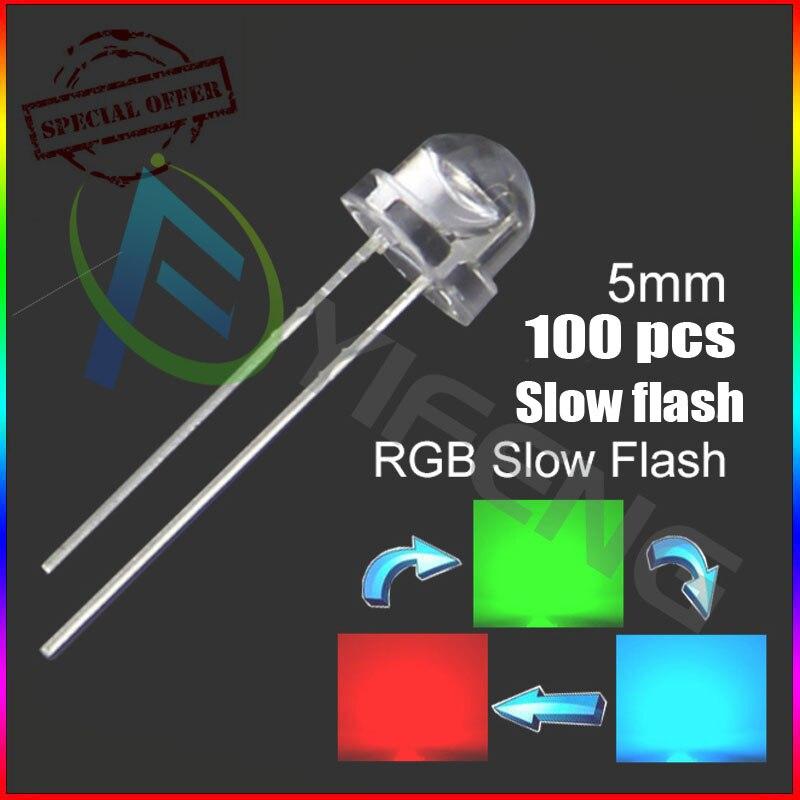 100pcs 5mm Straw Hat Colorful Slow Flashing Flash RGB Red Blue Green LED Leds 5mm strawhat rgb slow flashing led