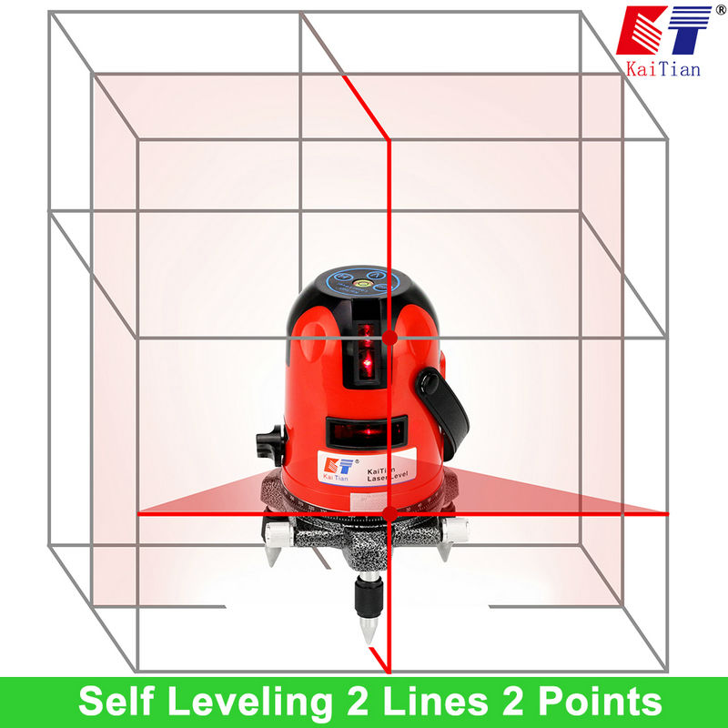 2 Lines Rotary Laser Level With Dual Slope Receiver 635 Cross Level Laser And Euro Plug
