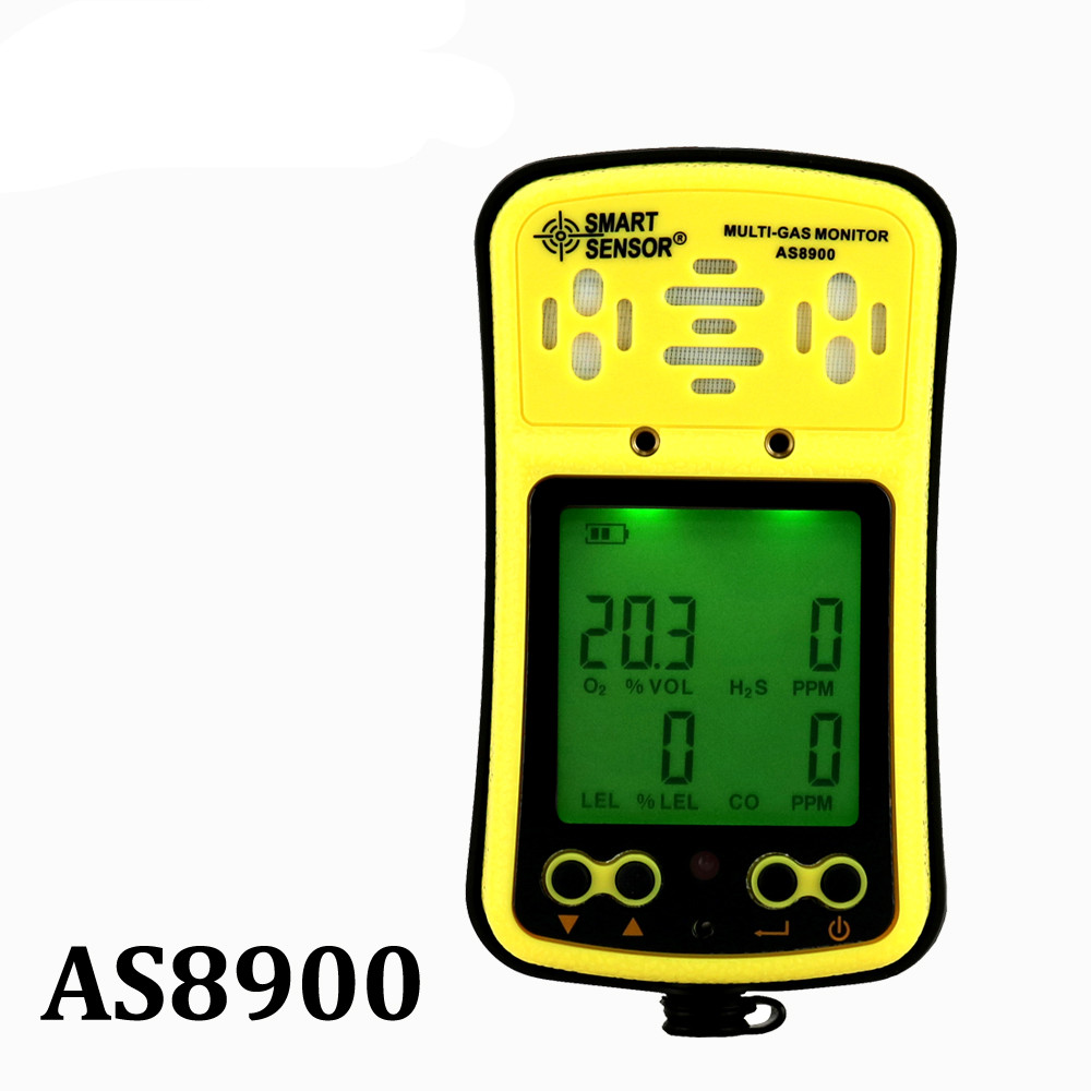 AS8900 Multi-Gas Monitor Handheld gas detector Oxygen Hydrothion H2S Carbon Monoxide CO Combustible Gas 4 in 1 Gas Analyzer buy gas monitor