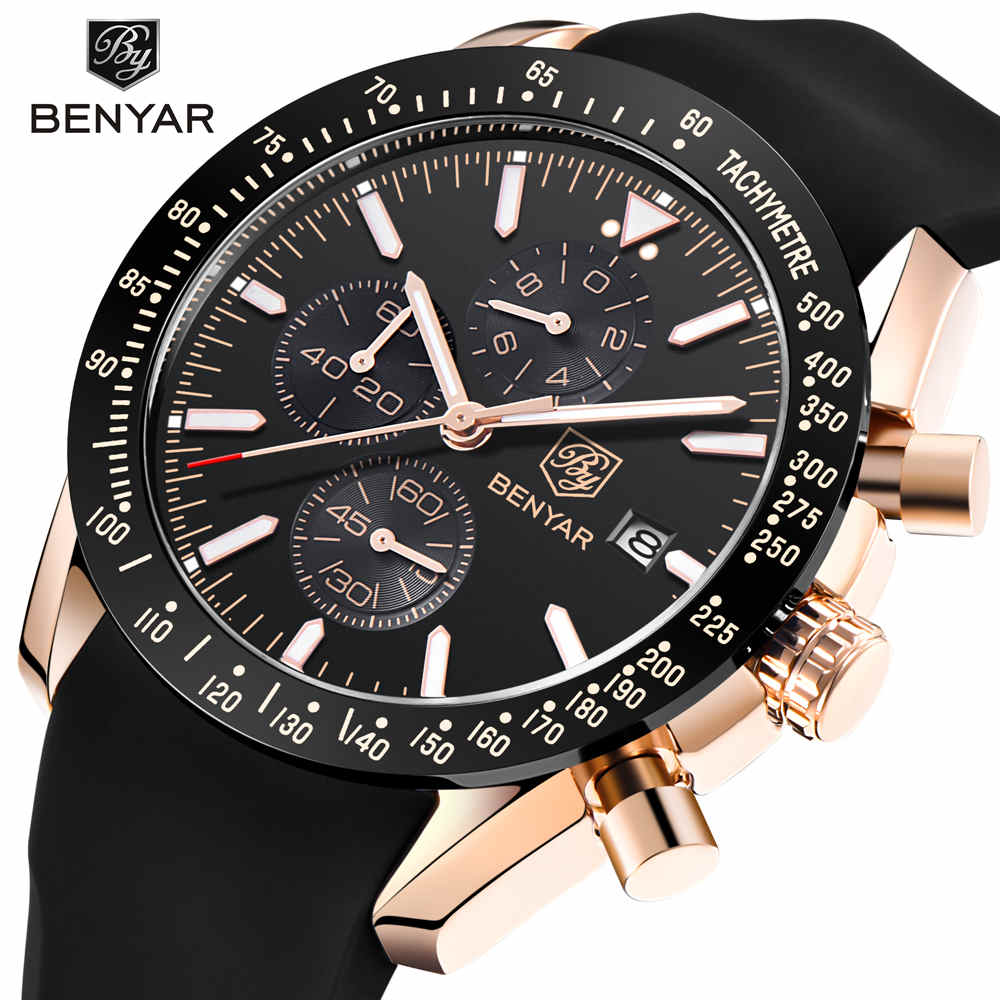 2018 BENYAR Brand Men Sport Chronograph Silicone Strap Watches All Pointers Work Waterproof Fashion Quartz Watch Clock Men Male