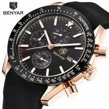 2018 BENYAR מותג גברים ספורט הכרונוגרף סיליקון רצועת שעונים כל מצביעי עבודה עמיד למים אופנה קוורץ שעון שעון גברים זכר