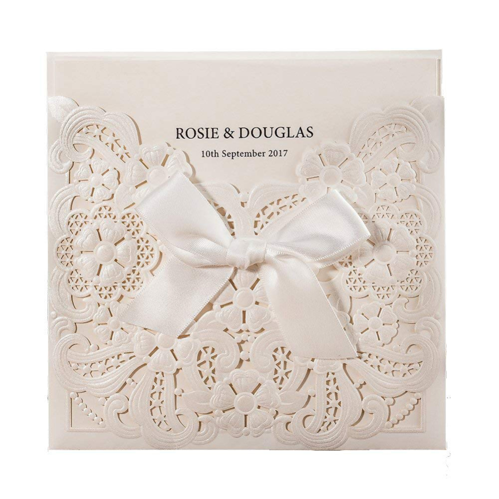 100pcs lot Laser Cut Wedding Invitations Card with Bowknot Pearl White Hollow Floral RSVP and Thank